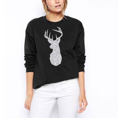 reindeer glitter head Christmas jumper